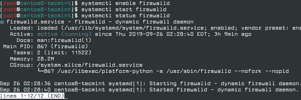 Enable Firewalld in CentOS 8