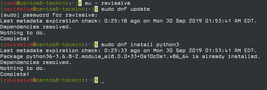 Install Python3 on RHEL and CentOS 8
