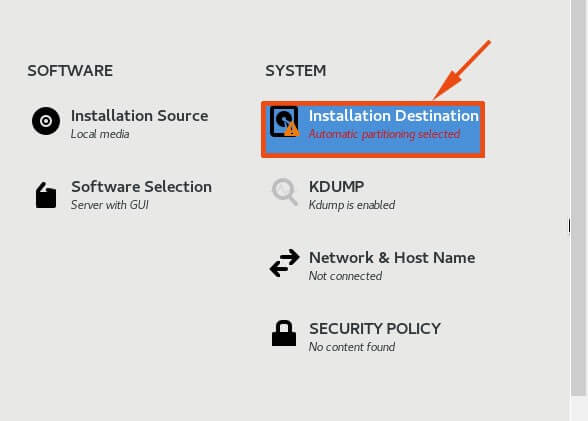 Select Installation Destination