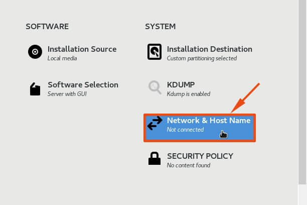 Select Network and Hostname
