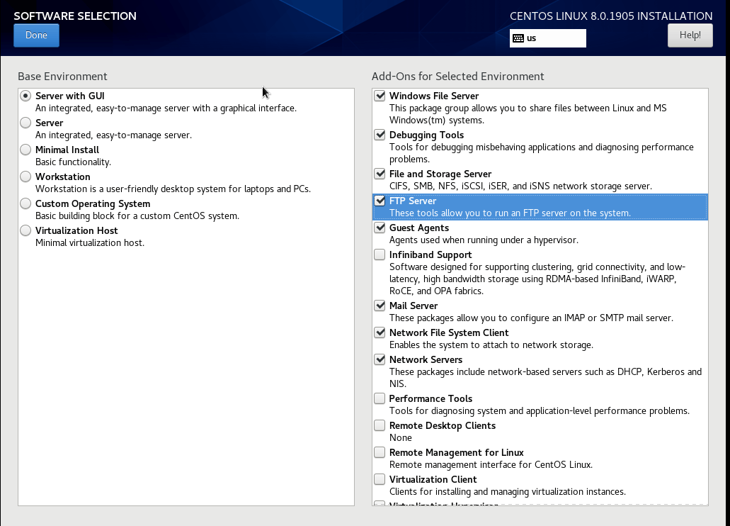 Select Server with GUI