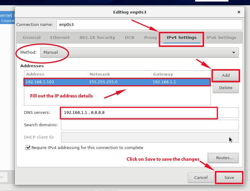 Set Static IP on CentOS 8