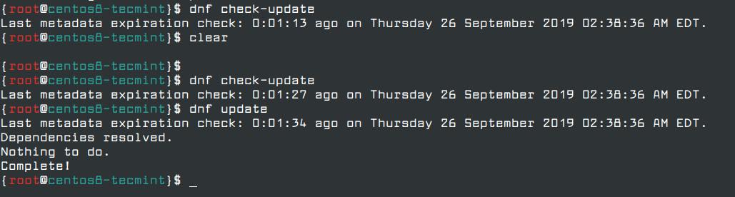 Update CentOS 8