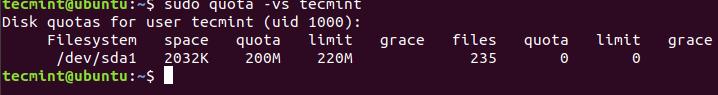 Verify User Quota Limit