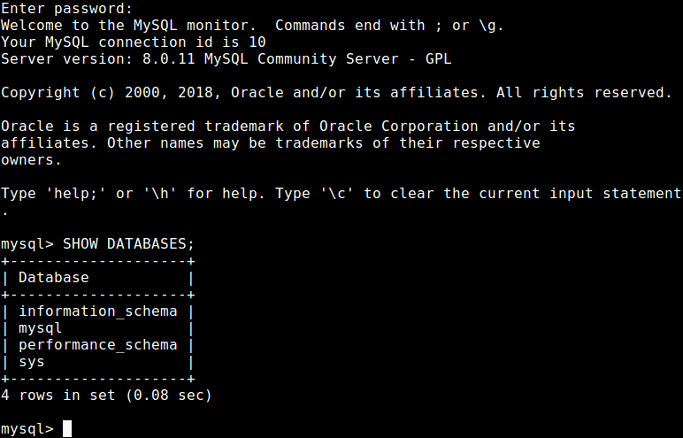 Connect to MySQL Shell