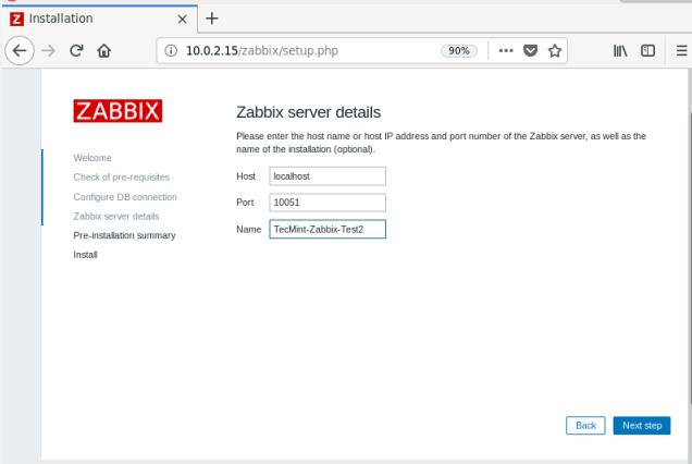 Zabbix Server Details