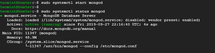 Kiểm tra trạng thái MongoDB