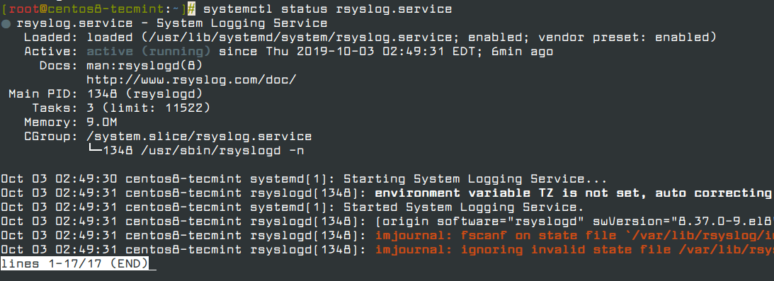 Check Rsyslog Status in CentOS 8