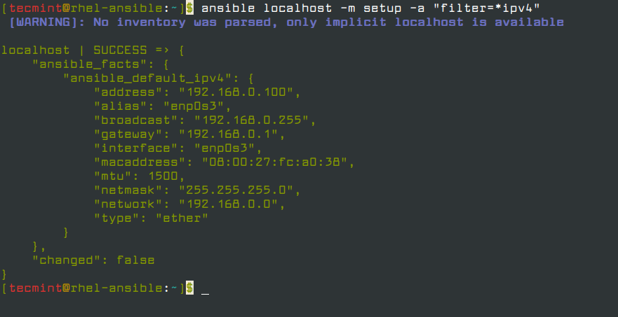 List IPv4 Ansible Facts