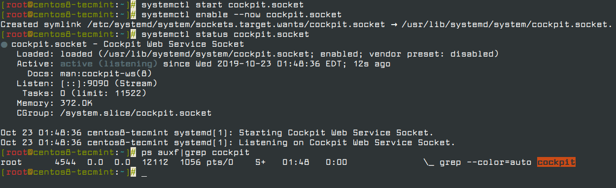 Start and Verify Cockpit Web Console in CentOS 8
