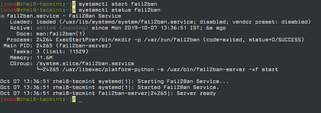 Start Fail2ban Service