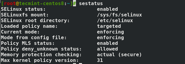Check SELinux Status in CentOS 8