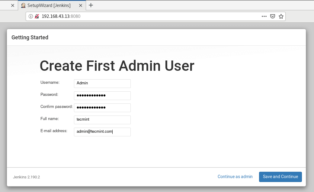 Create Jenkins Admin User