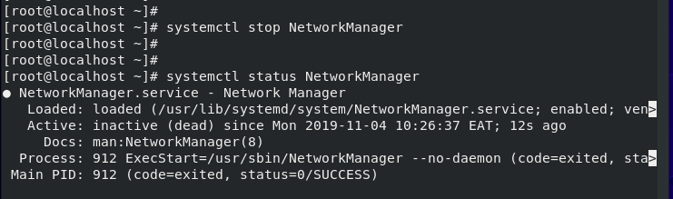 Disable Network Manager Service
