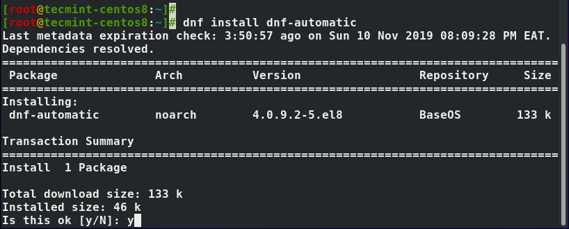 Install dnf-automatic in CentOS 8