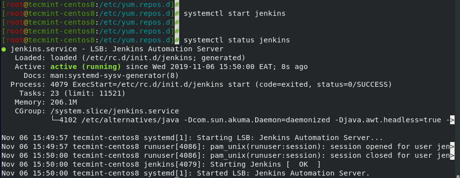 Start and Verify Jenkins Status