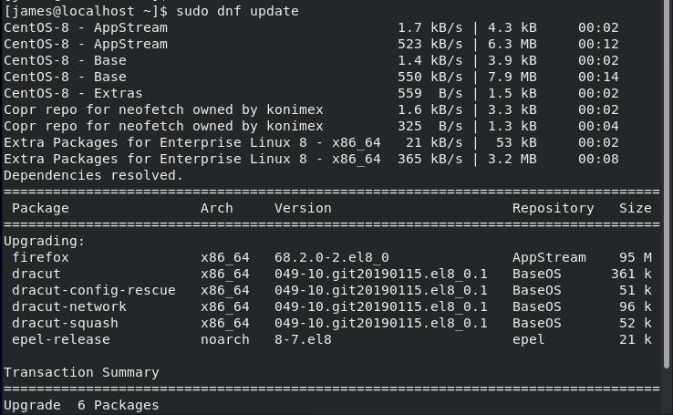 Update CentOS 8 System