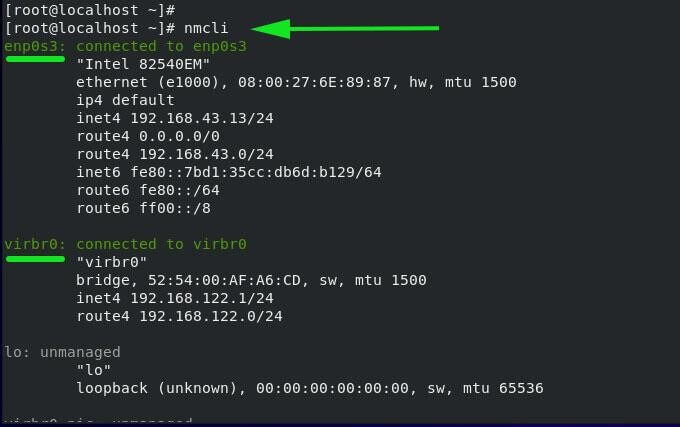 nmcli - Liệt kê các kết nối mạng đang hoạt động
