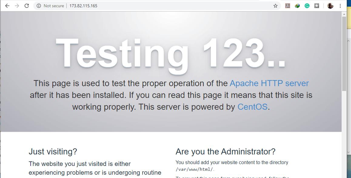 Apache Web Page on CentOS 7