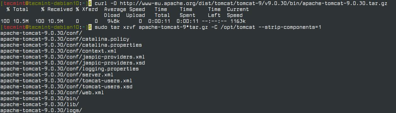 Download Tomcat in Debian 10