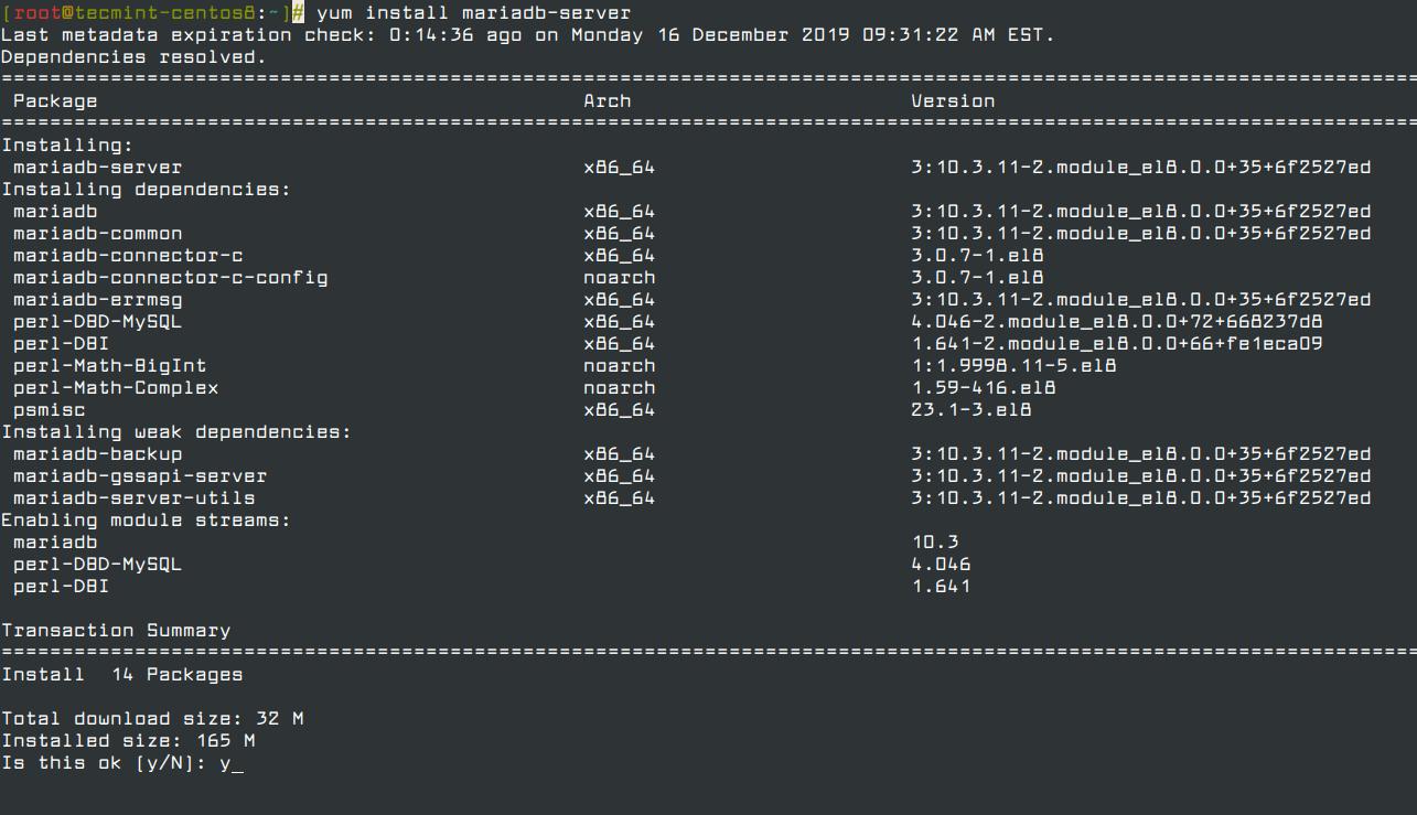 Install MariaDB in CentOS 8