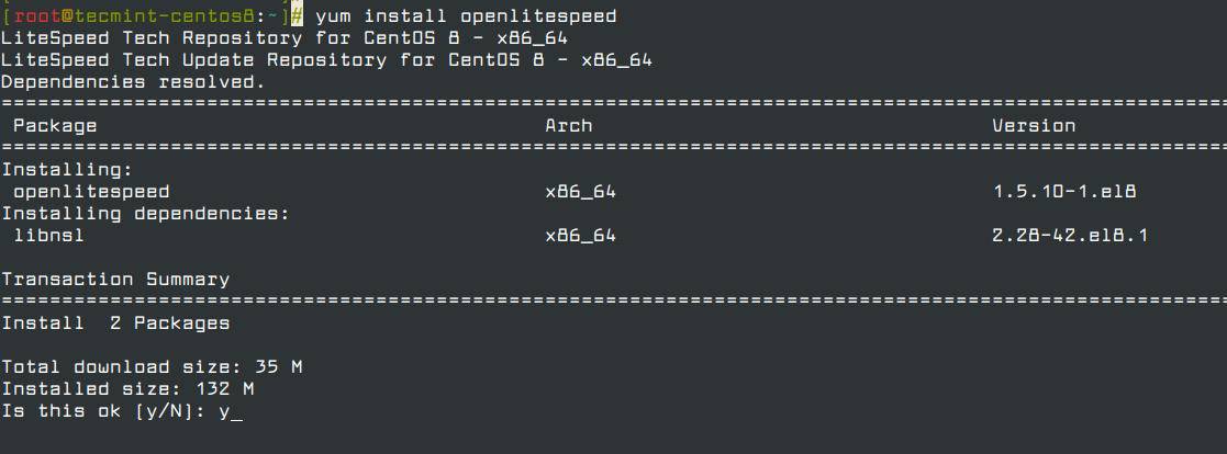 Install OpenLiteSpeed in CentOS 8
