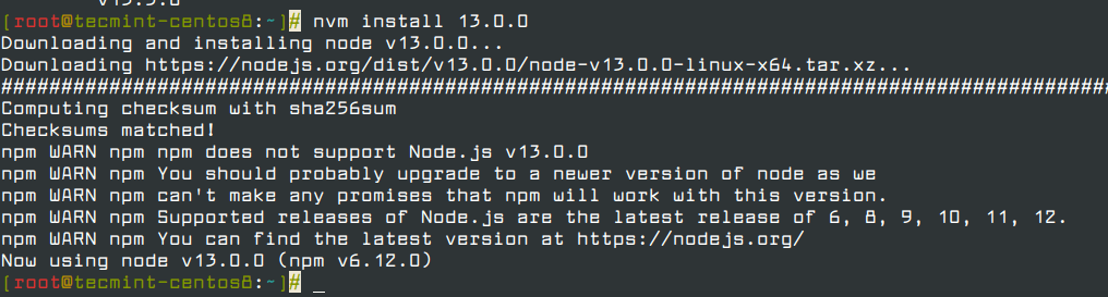 Install Specific Nodejs Version in CentOS 8