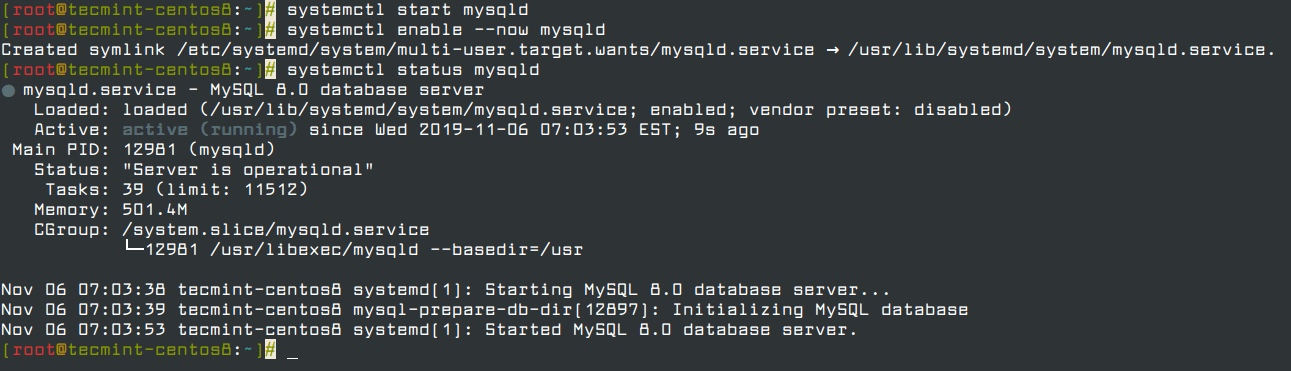Manage MySQL Service in CentOS 8