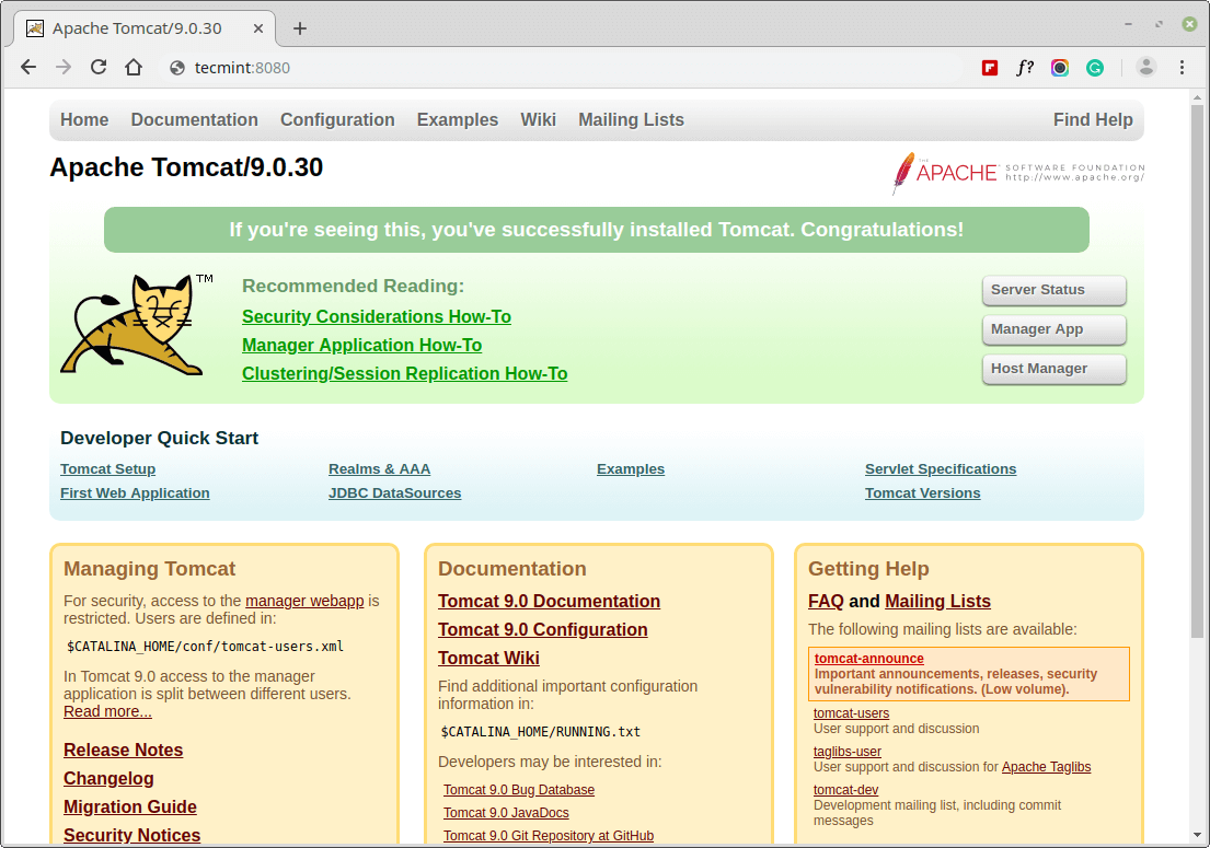 Tomcat Running in Debian