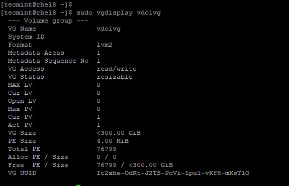 Check Statistics of VDO Volume Group