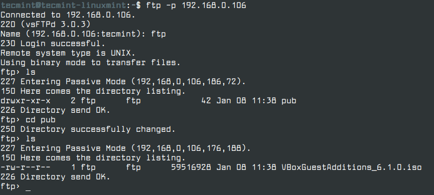 Connect FTP Client from Terminal