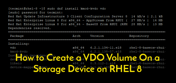 Create VDO Volume on Disk on RHEL 8
