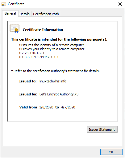 Lets Encrypt Certificate Info