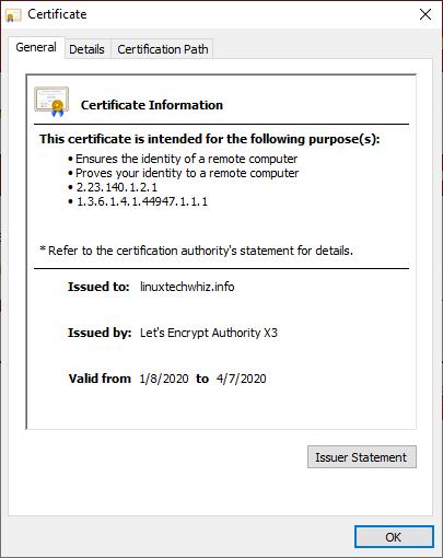 Lets Encrypt Certificate Info