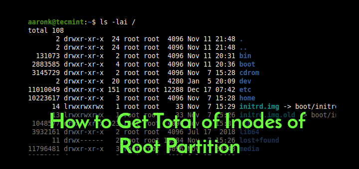 List Total Inodes of Root Partition