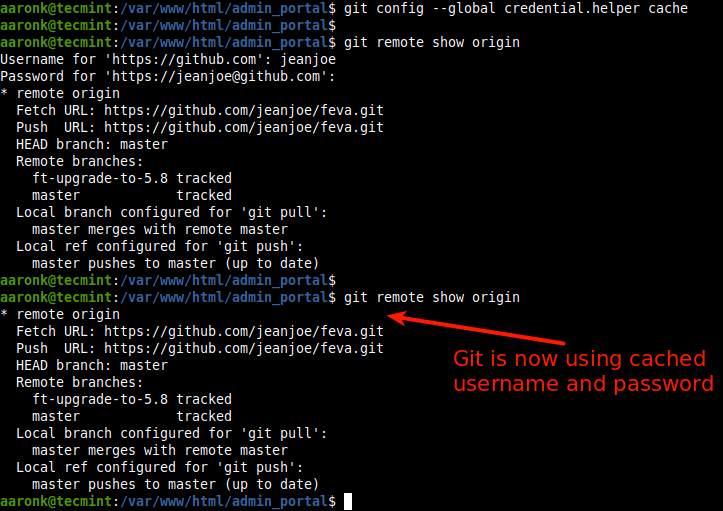 Cache Git Credentials in Memory