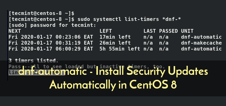 dnf-automatic - Auto Install Updates on CentOS 8