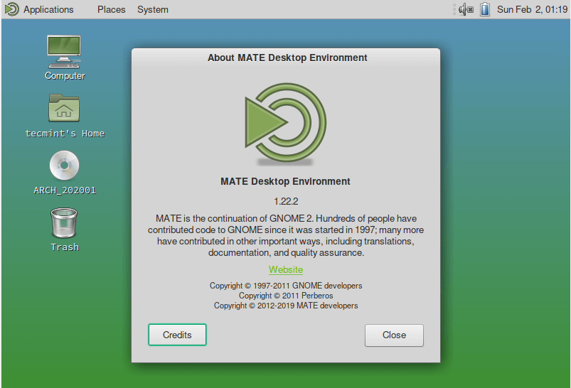 About Mate Desktop Version Info
