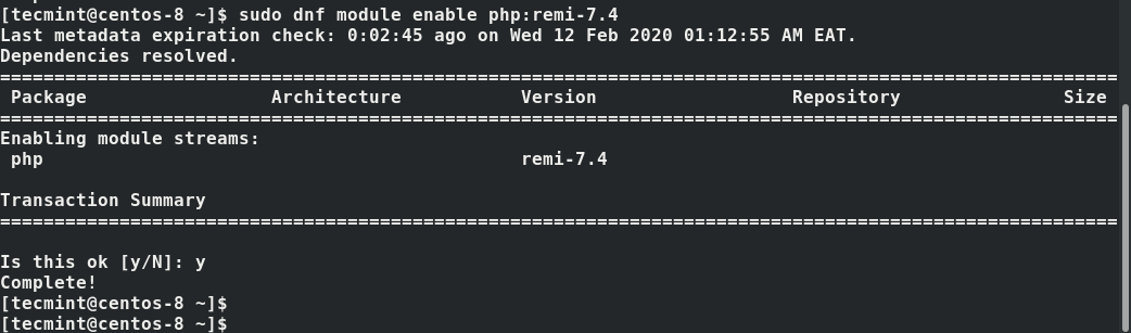Enable PHP Module in CentOS 8