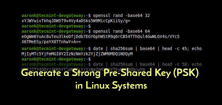 Generate Pre Shared Key in Linux