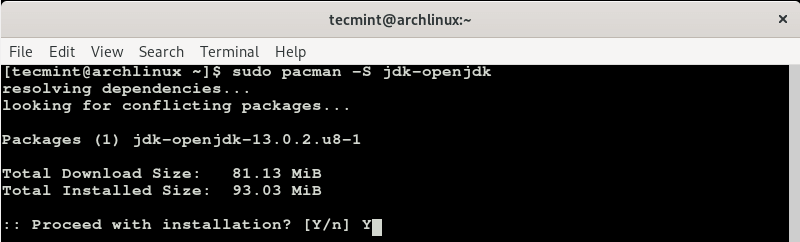 Install JDK in Arch Linux