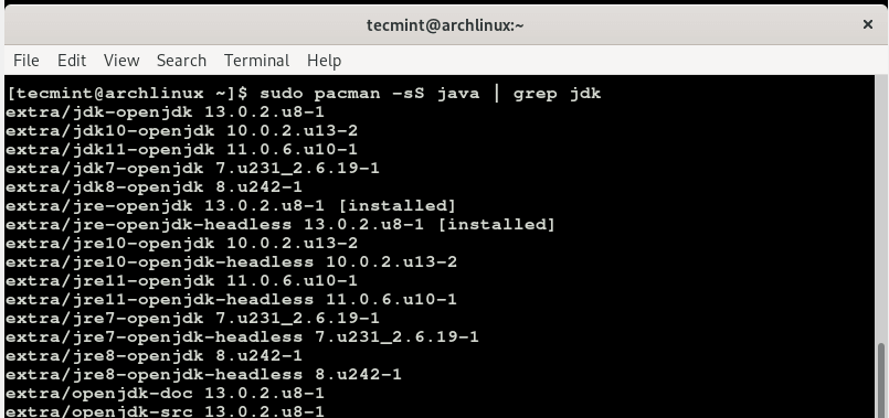 Search Java JDK Version in Arch Linux