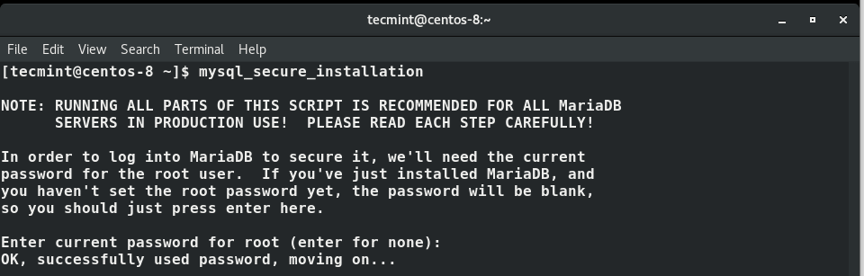 Secure MariaDB Installation on CentOS 8
