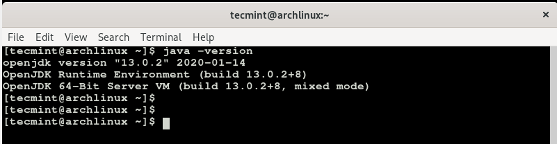 Verify Java Version in Arch Linux