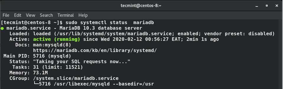 Verify MariaDB Service Status