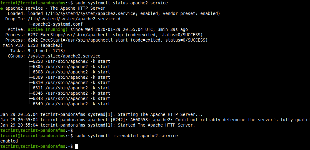 Check Apache Status in Ubuntu