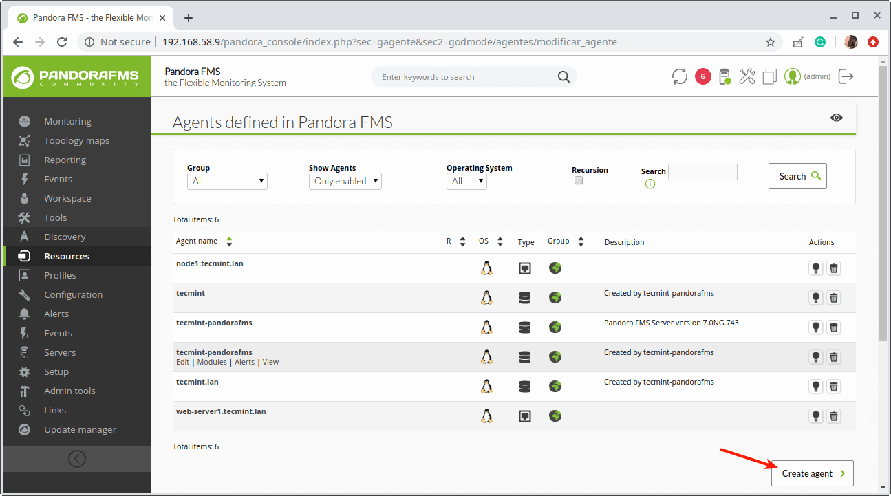 Create a New Agent in Pandora FMS