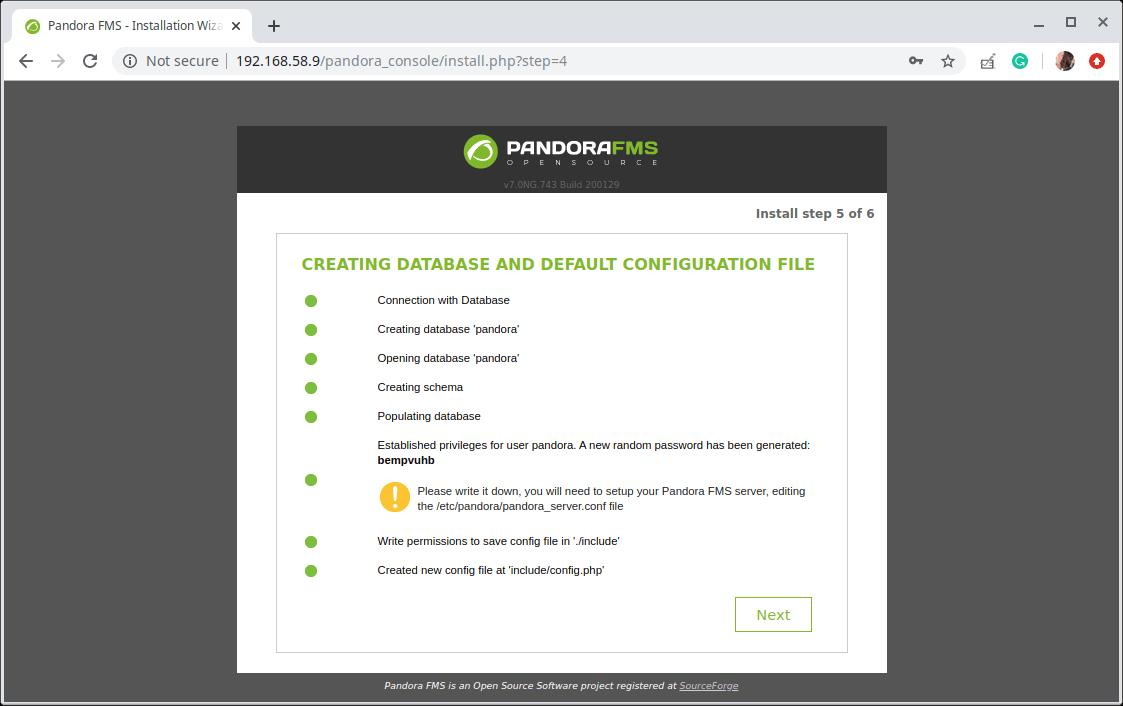 Pandora FMS Database Configuration