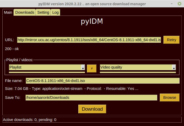 Download File Using pyIDM