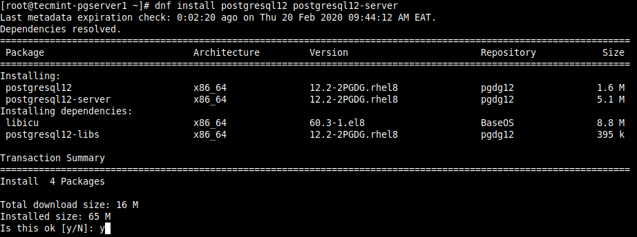 Install PostgreSQL on CentOS 8